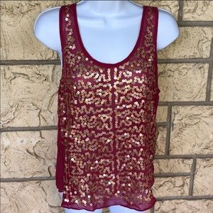 Pink sequence Tank Top sheer mustard seed NWT